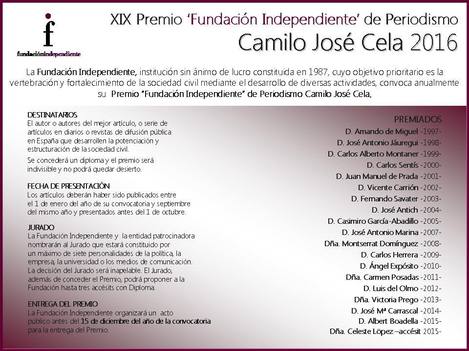 """Premio de Periodismo """"Fundación Independiente"""" de Periodismo Camilo José Cela"""