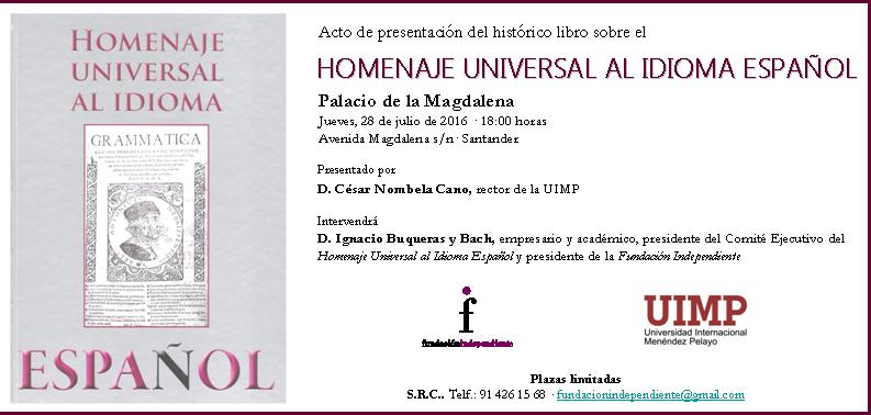 Santander – Presentación Libro sobre el HOMENAJE UNIVERSAL AL IDIOMA ESPAÑOL
