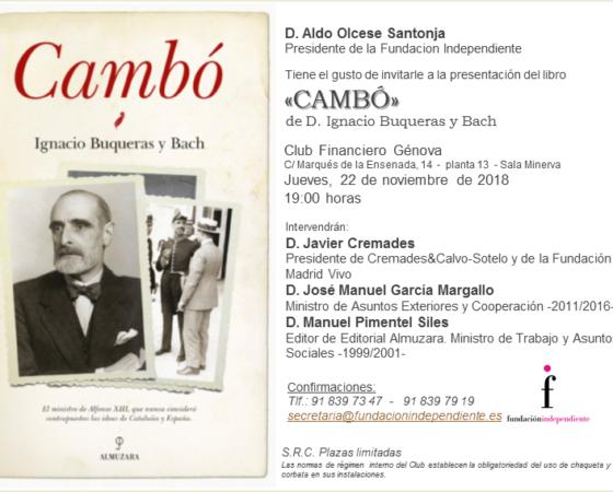 Presentación «Cambó» de Ignacio Buqueras y Bach
