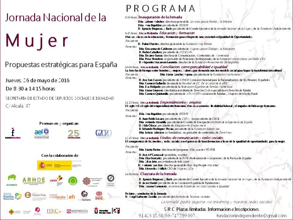 Jornada Nacional La mujer: propuestas estratégicas para España 2016