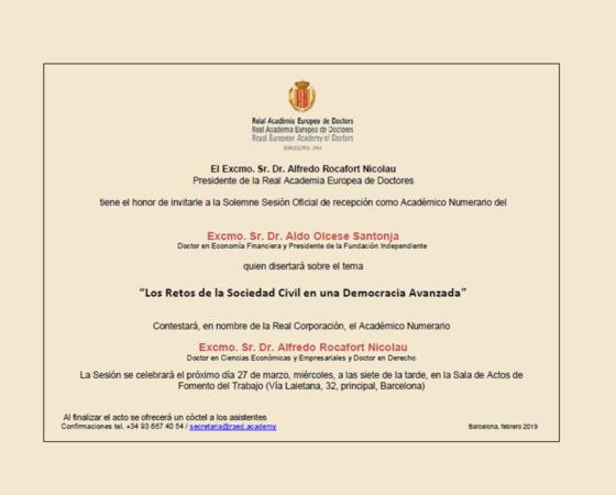 Ingreso en la Real Academia Europea de Doctores del Dr. D. Aldo Olcese