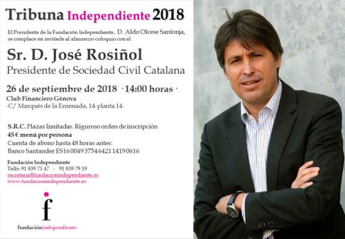 INVITACIÓN TRIBUNA INDEPENDIENTE JOSÉ ROSIÑOL 26.09.18