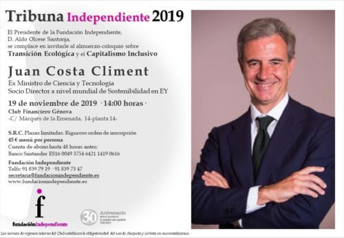 INVITACIÓN TRIBUNA INDEPENDIENTE JUAN COSTA CLIMENT 19.11 14h.