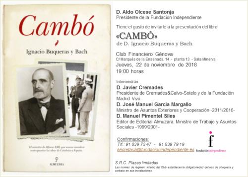 Presentación de «Cambó» de Ignacio Buqueras y Bach