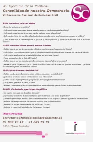 Programa VI Encuentro Nacional de Sociedad Civil