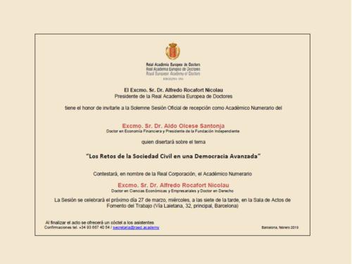 Ingreso Dr. D. Aldo Olcese Santonja en la Real Academia Europea de Doctores